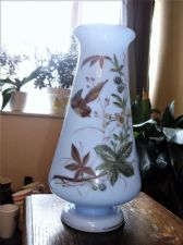 LARGE ANTIQUE PALE BLUE GILDED GLASS VASE SUPERB HANDPAINTED BIRD & BERRIES 12""